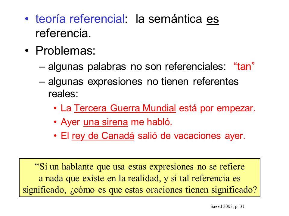 teoría referencial: la semántica es referencia. Problemas: –algunas palabras no son referenciales: tan –algunas expresiones no tienen referentes reale