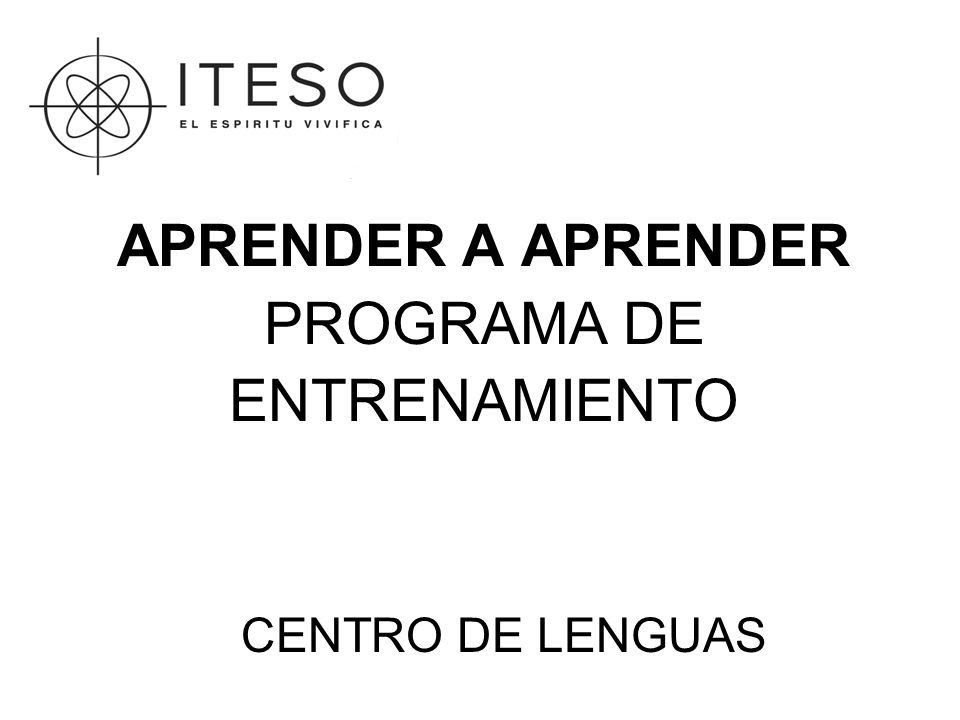 APRENDER A APRENDER PROGRAMA DE ENTRENAMIENTO CENTRO DE LENGUAS