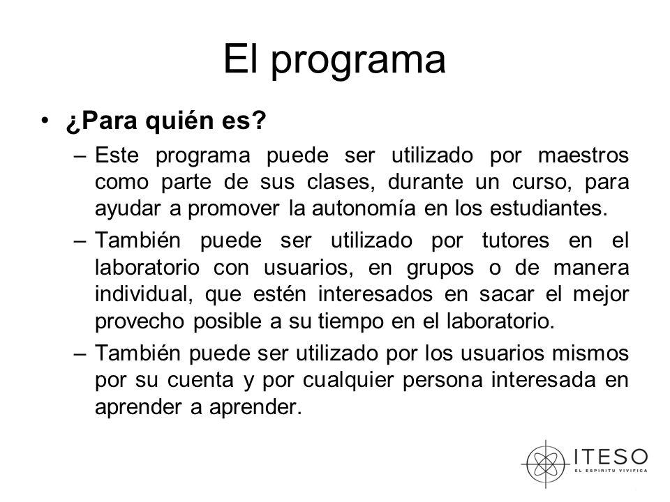 El programa ¿Para quién es? –Este programa puede ser utilizado por maestros como parte de sus clases, durante un curso, para ayudar a promover la auto