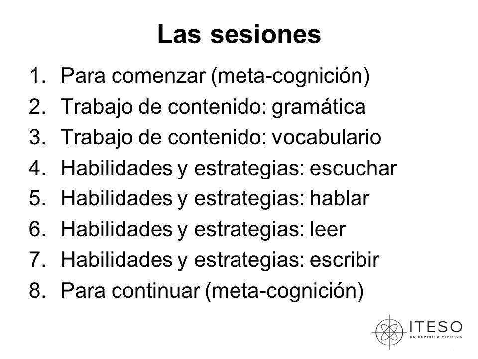 Las sesiones 1.Para comenzar (meta-cognición) 2.Trabajo de contenido: gramática 3.Trabajo de contenido: vocabulario 4.Habilidades y estrategias: escuchar 5.Habilidades y estrategias: hablar 6.Habilidades y estrategias: leer 7.Habilidades y estrategias: escribir 8.Para continuar (meta-cognición)