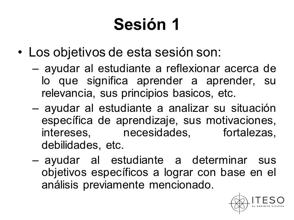 Sesión 1 Los objetivos de esta sesión son: – ayudar al estudiante a reflexionar acerca de lo que significa aprender a aprender, su relevancia, sus principios basicos, etc.
