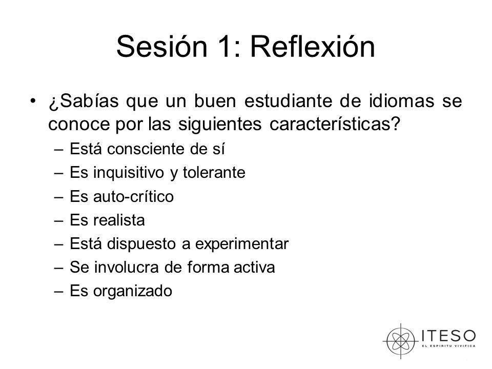 Sesión 1: Reflexión ¿Sabías que un buen estudiante de idiomas se conoce por las siguientes características? –Está consciente de sí –Es inquisitivo y t