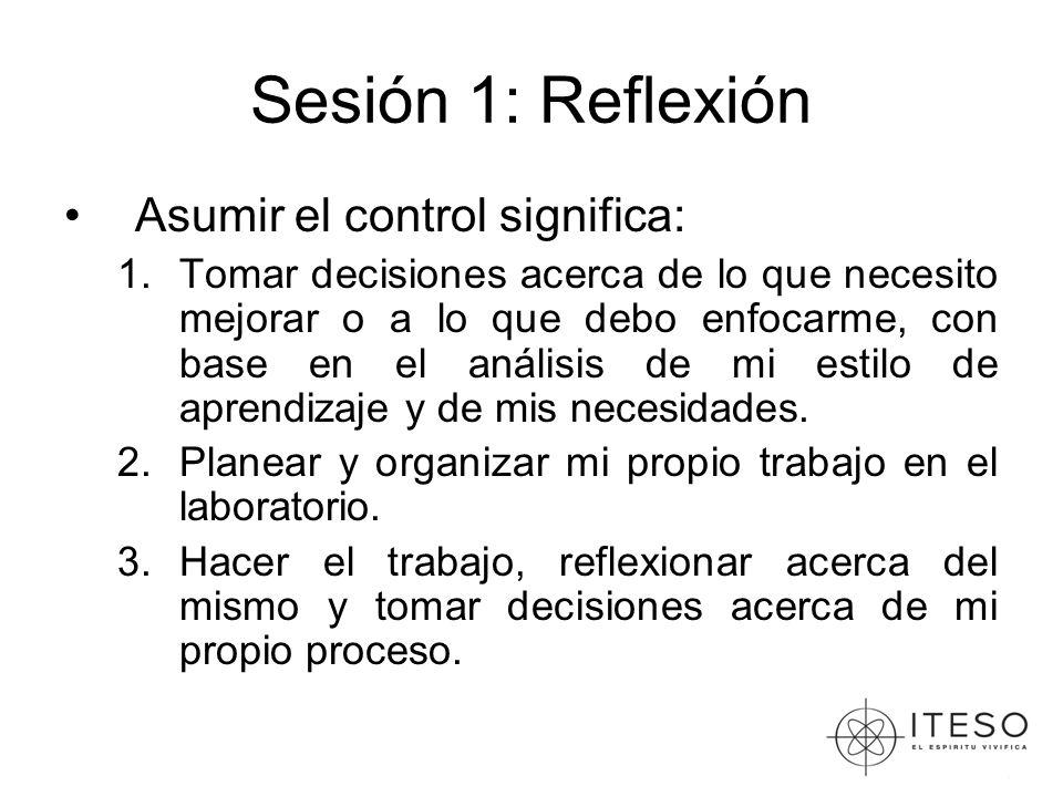 Sesión 1: Reflexión Asumir el control significa: 1.Tomar decisiones acerca de lo que necesito mejorar o a lo que debo enfocarme, con base en el análisis de mi estilo de aprendizaje y de mis necesidades.
