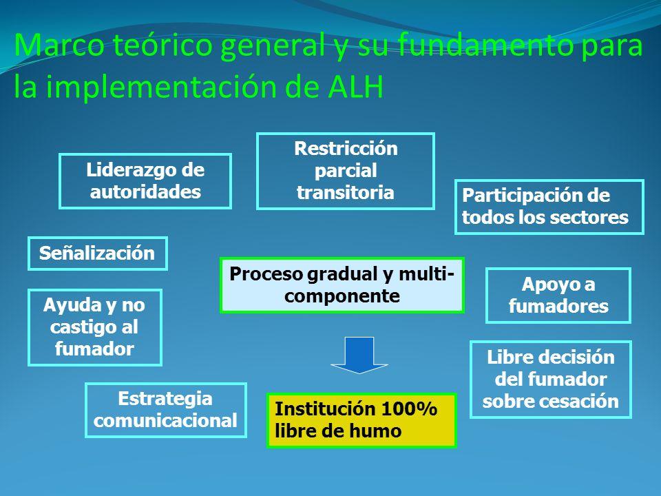 Marco teórico general y su fundamento para la implementación de ALH Institución 100% libre de humo Participación de todos los sectores Restricción par