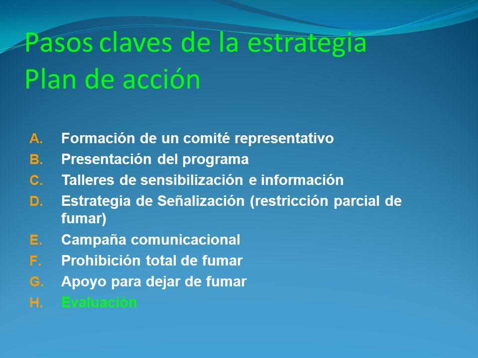 Pasos claves de la estrategia Plan de acción A. Formación de un comité representativo B. Presentación del programa C. Talleres de sensibilización e in