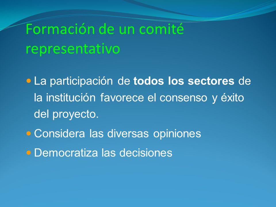 Formación de un comité representativo La participación de todos los sectores de la institución favorece el consenso y éxito del proyecto. Considera la