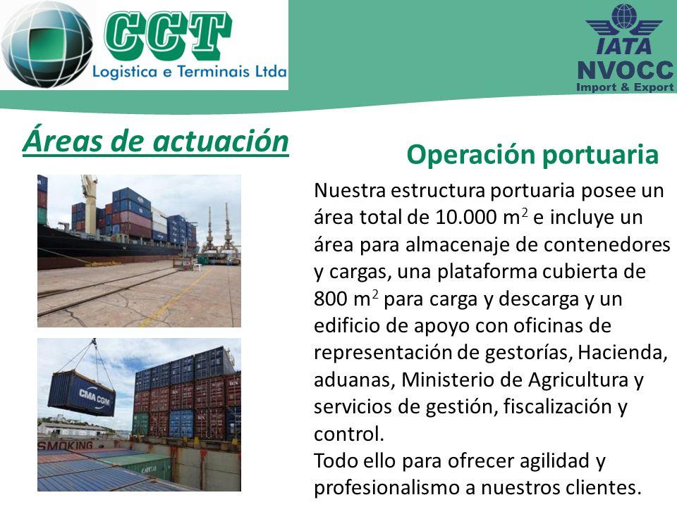 Áreas de actuación Operación portuaria Nuestra estructura portuaria posee un área total de 10.000 m 2 e incluye un área para almacenaje de contenedore