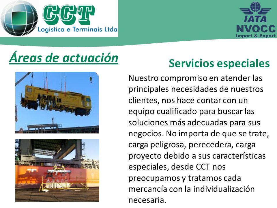Áreas de actuación Servicios especiales Nuestro compromiso en atender las principales necesidades de nuestros clientes, nos hace contar con un equipo