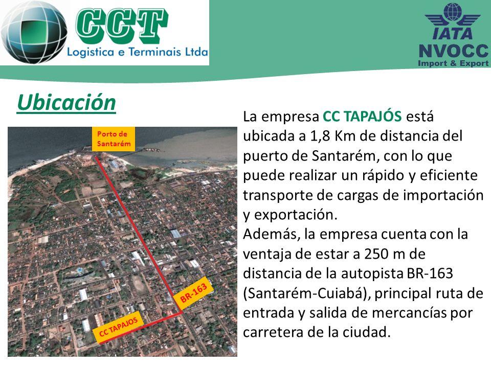 En la actualidad la empresa CC TAPAJOS cuenta con un área propia para depósito de 9.000 m² que se utiliza como almacén de mercancías, stock de contenedores y unitización de mercancías.