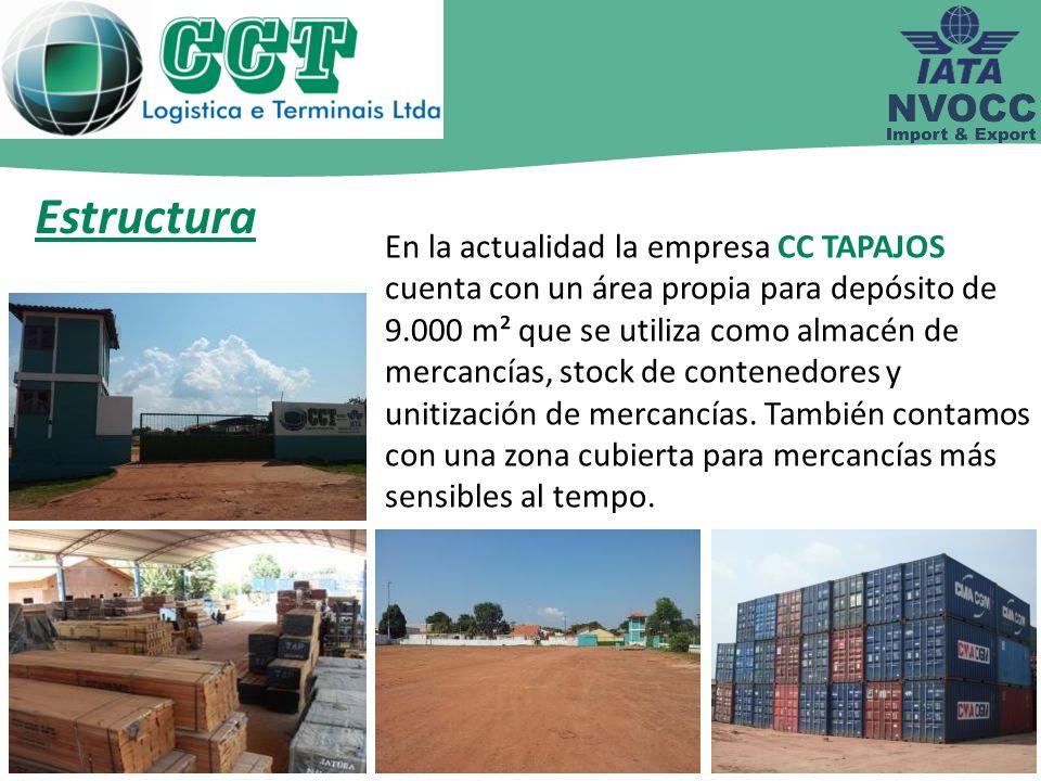 En la actualidad la empresa CC TAPAJOS cuenta con un área propia para depósito de 9.000 m² que se utiliza como almacén de mercancías, stock de contene