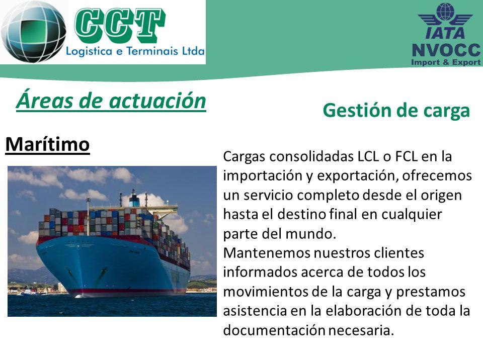 Áreas de actuación Cargas consolidadas LCL o FCL en la importación y exportación, ofrecemos un servicio completo desde el origen hasta el destino fina