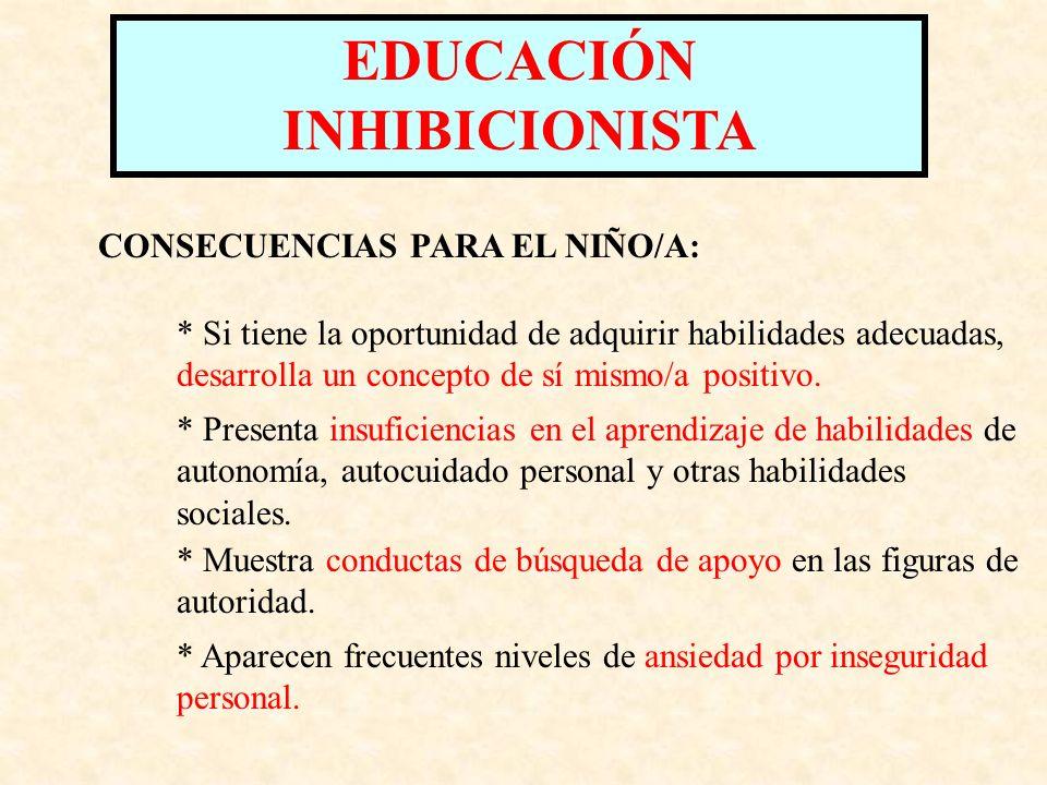 EDUCACIÓN INHIBICIONISTA FUNDAMENTO: RESPONSABILIDAD MÍNIMA DESCULPABILIZACIÓN Todos son capaces de desarrollarse con normalidad.
