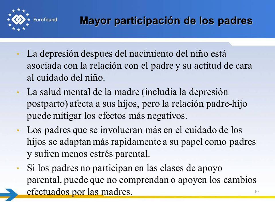 Mayor participación de los padres La depresión despues del nacimiento del niño está asociada con la relación con el padre y su actitud de cara al cuid