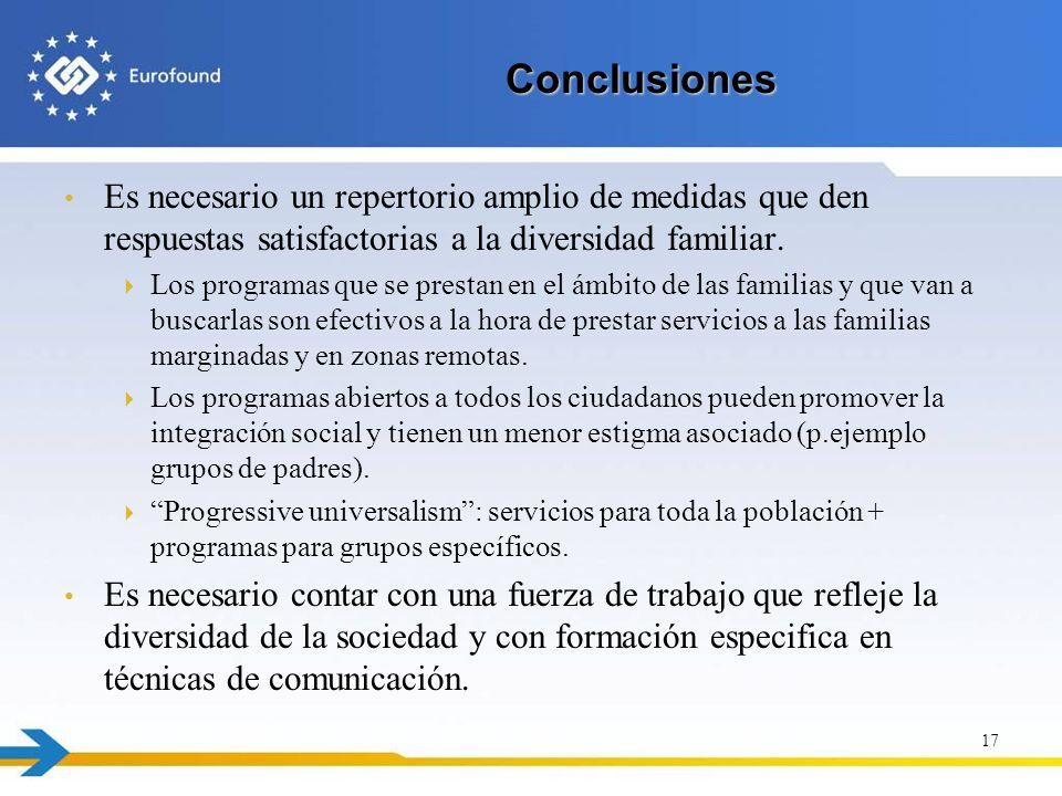 Conclusiones Es necesario un repertorio amplio de medidas que den respuestas satisfactorias a la diversidad familiar. Los programas que se prestan en