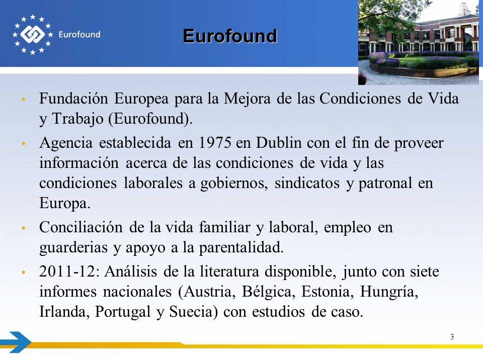 Eurofound Eurofound Fundación Europea para la Mejora de las Condiciones de Vida y Trabajo (Eurofound). Agencia establecida en 1975 en Dublin con el fi