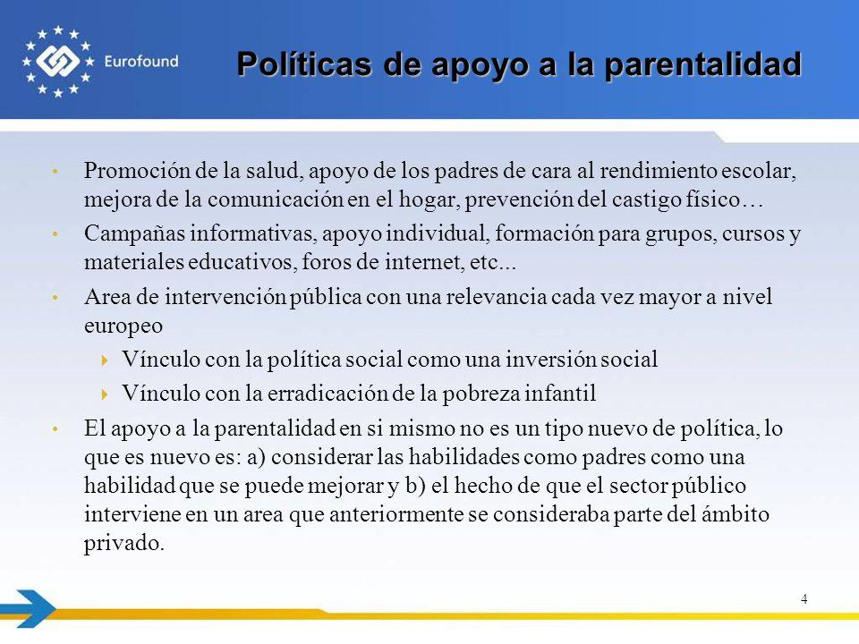 Políticas de apoyo a la parentalidad Promoción de la salud, apoyo de los padres de cara al rendimiento escolar, mejora de la comunicación en el hogar,