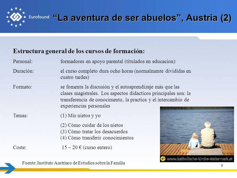 La aventura de ser abuelos, Austria (2) 9 Estructura general de los cursos de formación: Personal: formadores en apoyo parental (titulados en educacio