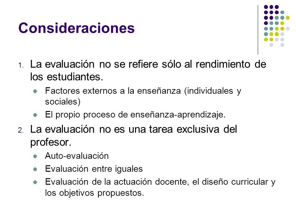Consideraciones 1. La evaluación no se refiere sólo al rendimiento de los estudiantes. Factores externos a la enseñanza (individuales y sociales) El p
