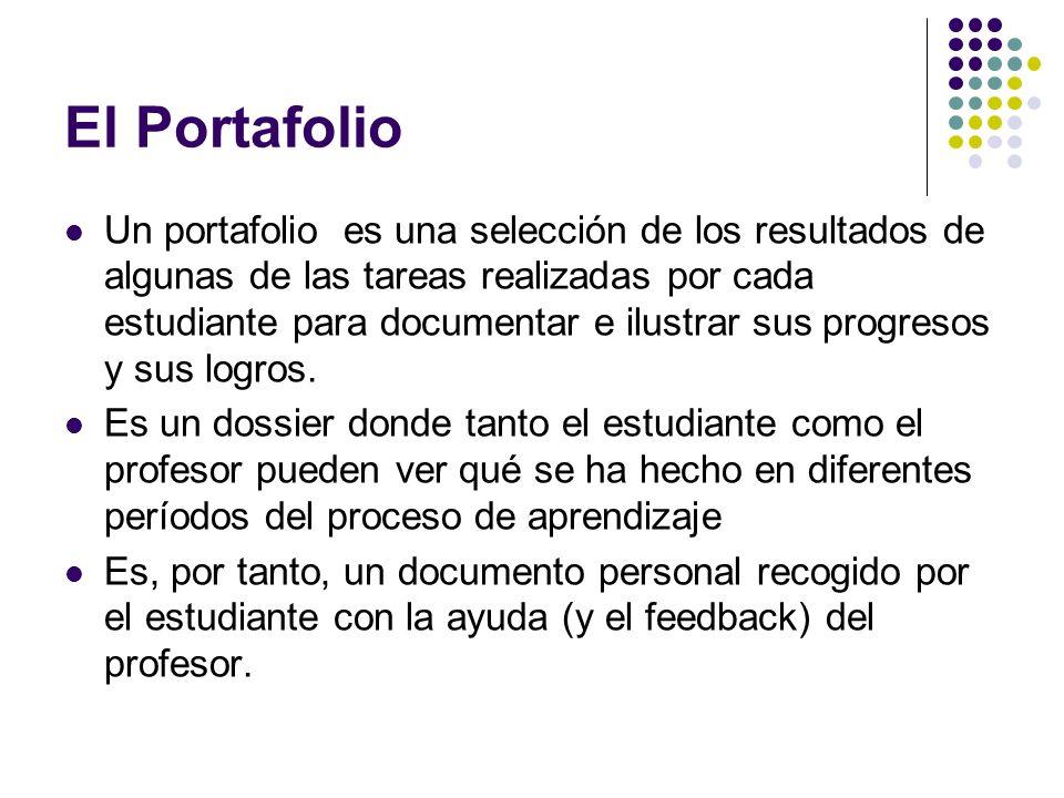 El Portafolio Un portafolio es una selección de los resultados de algunas de las tareas realizadas por cada estudiante para documentar e ilustrar sus
