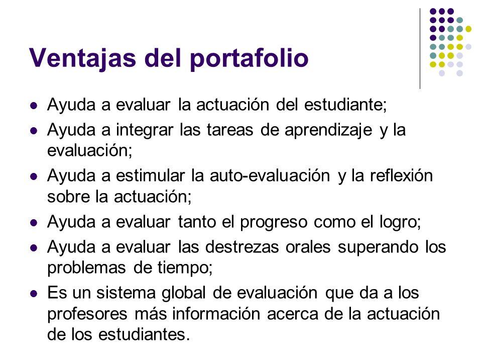 Ventajas del portafolio Ayuda a evaluar la actuación del estudiante; Ayuda a integrar las tareas de aprendizaje y la evaluación; Ayuda a estimular la