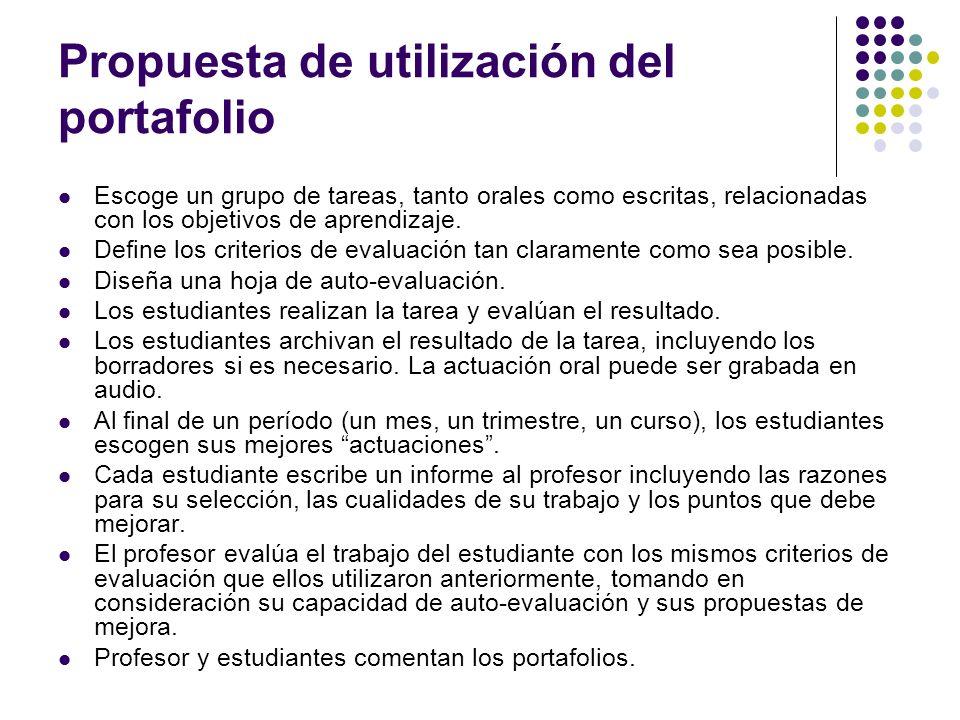 Propuesta de utilización del portafolio Escoge un grupo de tareas, tanto orales como escritas, relacionadas con los objetivos de aprendizaje. Define l