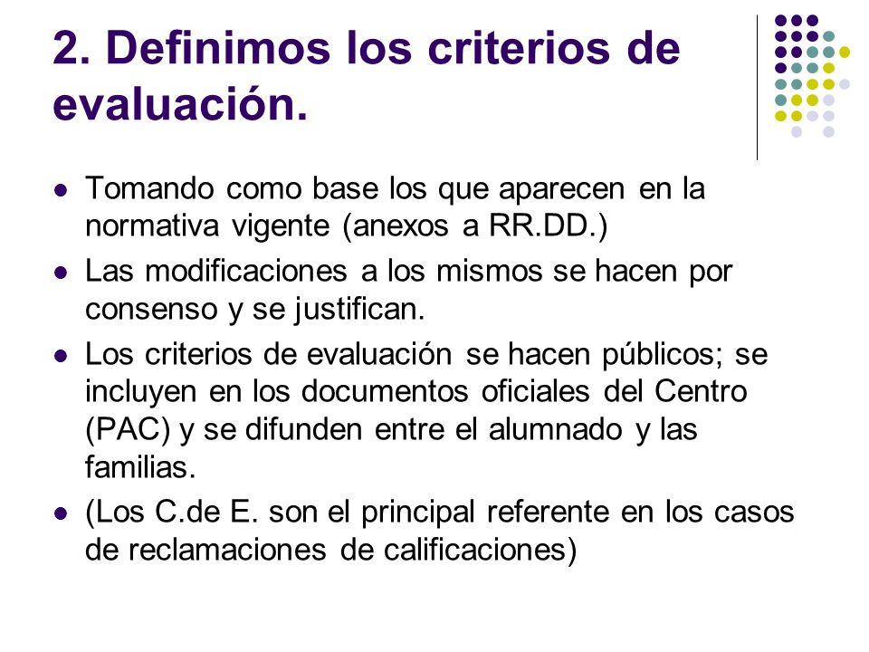 2. Definimos los criterios de evaluación. Tomando como base los que aparecen en la normativa vigente (anexos a RR.DD.) Las modificaciones a los mismos