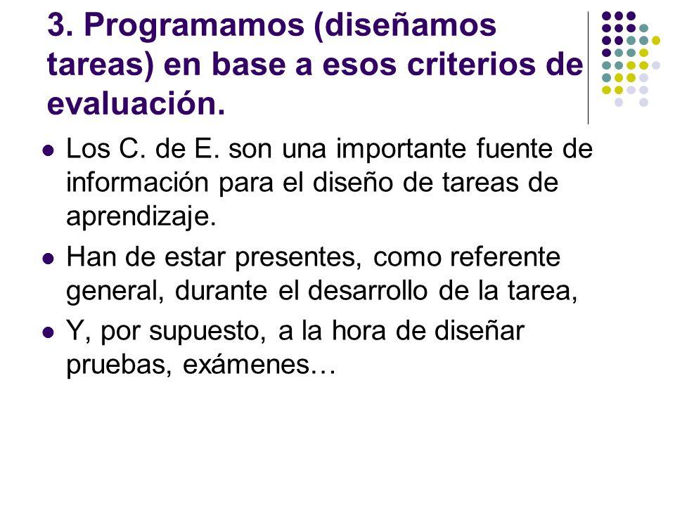 3. Programamos (diseñamos tareas) en base a esos criterios de evaluación. Los C. de E. son una importante fuente de información para el diseño de tare