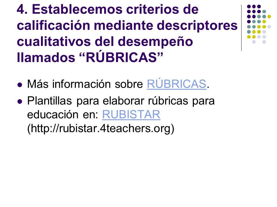 4. Establecemos criterios de calificación mediante descriptores cualitativos del desempeño llamados RÚBRICAS Más información sobre RÚBRICAS.RÚBRICAS P