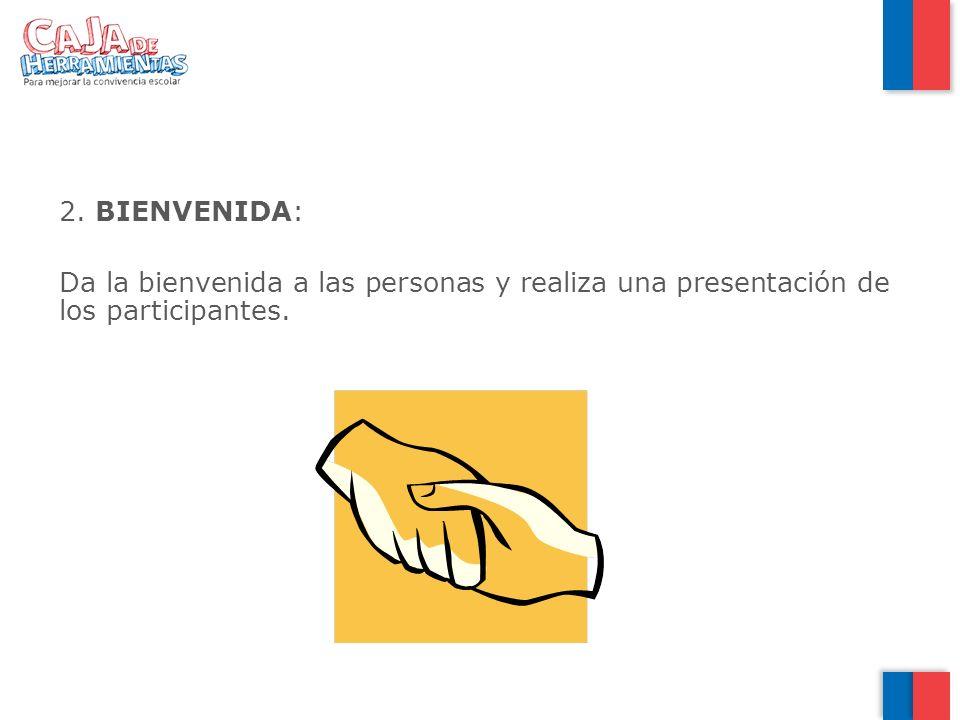 2. BIENVENIDA: Da la bienvenida a las personas y realiza una presentación de los participantes.