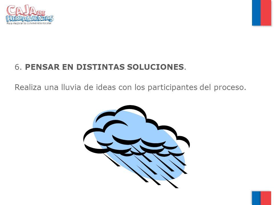6. PENSAR EN DISTINTAS SOLUCIONES. Realiza una lluvia de ideas con los participantes del proceso.