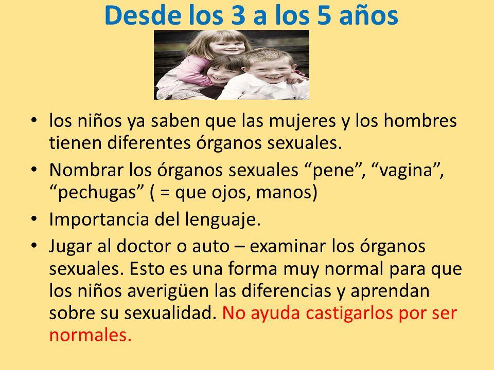 Desde los 3 a los 5 años los niños ya saben que las mujeres y los hombres tienen diferentes órganos sexuales. Nombrar los órganos sexuales pene, vagin
