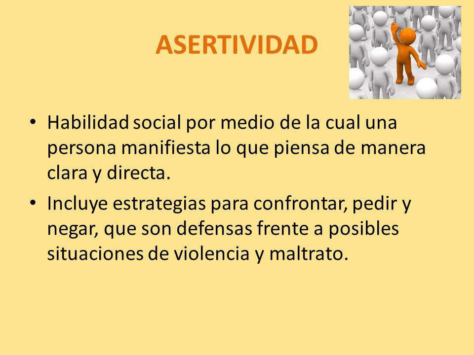ASERTIVIDAD Habilidad social por medio de la cual una persona manifiesta lo que piensa de manera clara y directa. Incluye estrategias para confrontar,