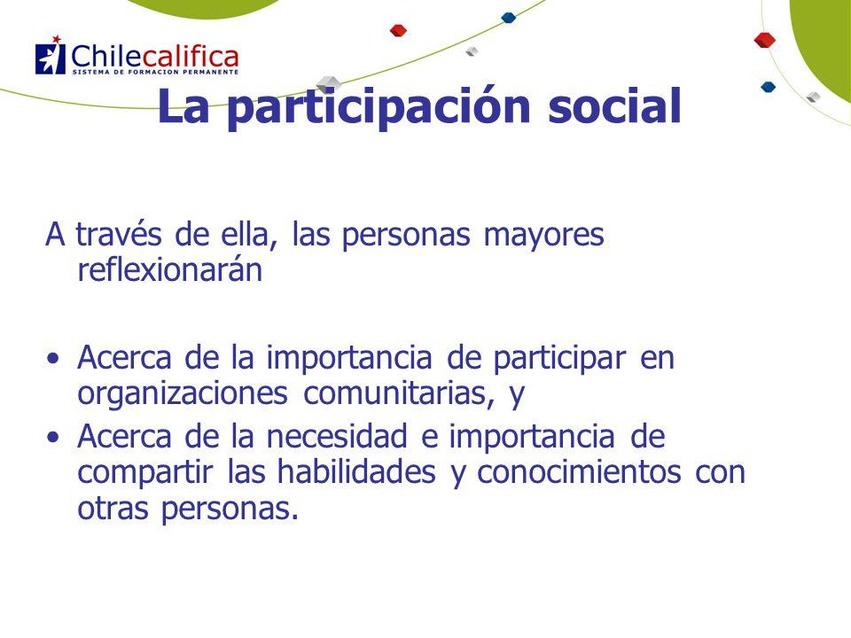 La participación social A través de ella, las personas mayores reflexionarán Acerca de la importancia de participar en organizaciones comunitarias, y