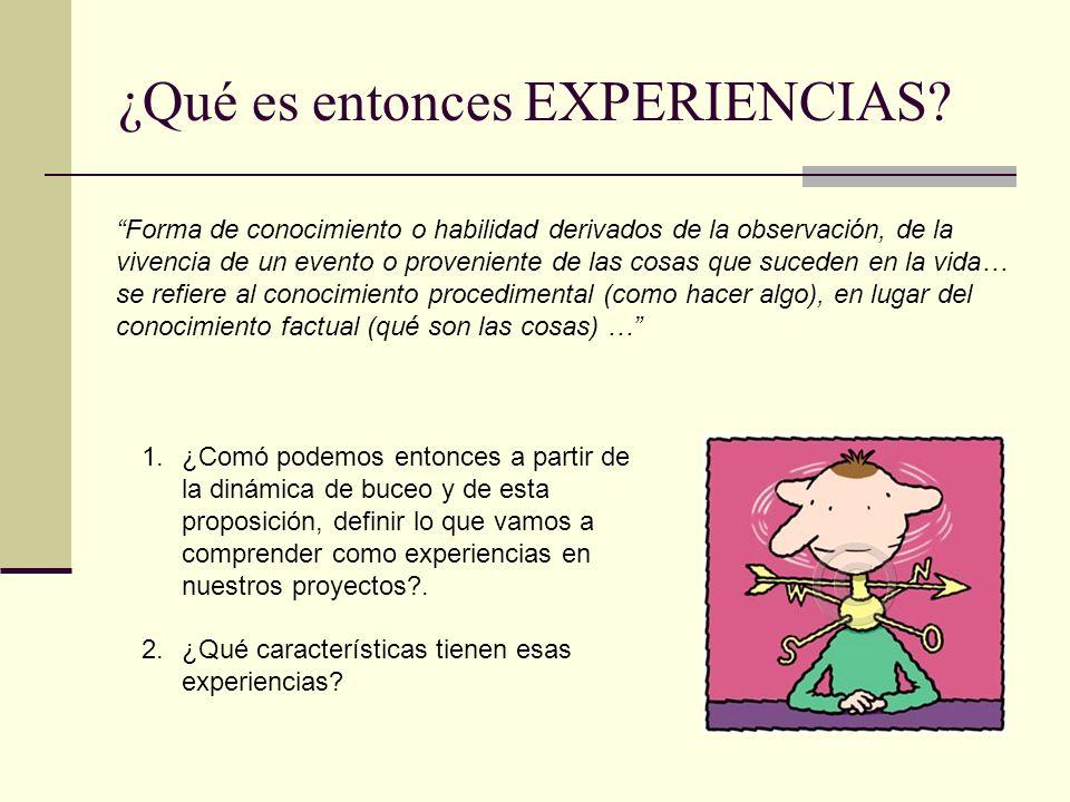 ¿Qué es entonces EXPERIENCIAS? Forma de conocimiento o habilidad derivados de la observación, de la vivencia de un evento o proveniente de las cosas q