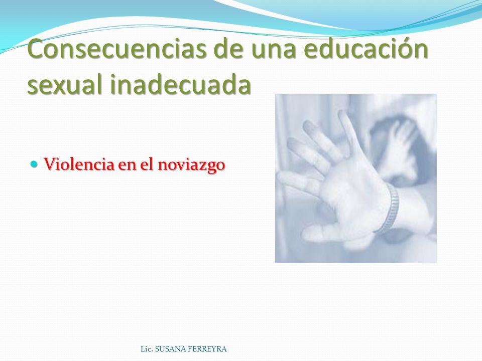 Consecuencias de una educación sexual inadecuada Maltrato y abuso sexual infantil Lic. SUSANA FERREYRA