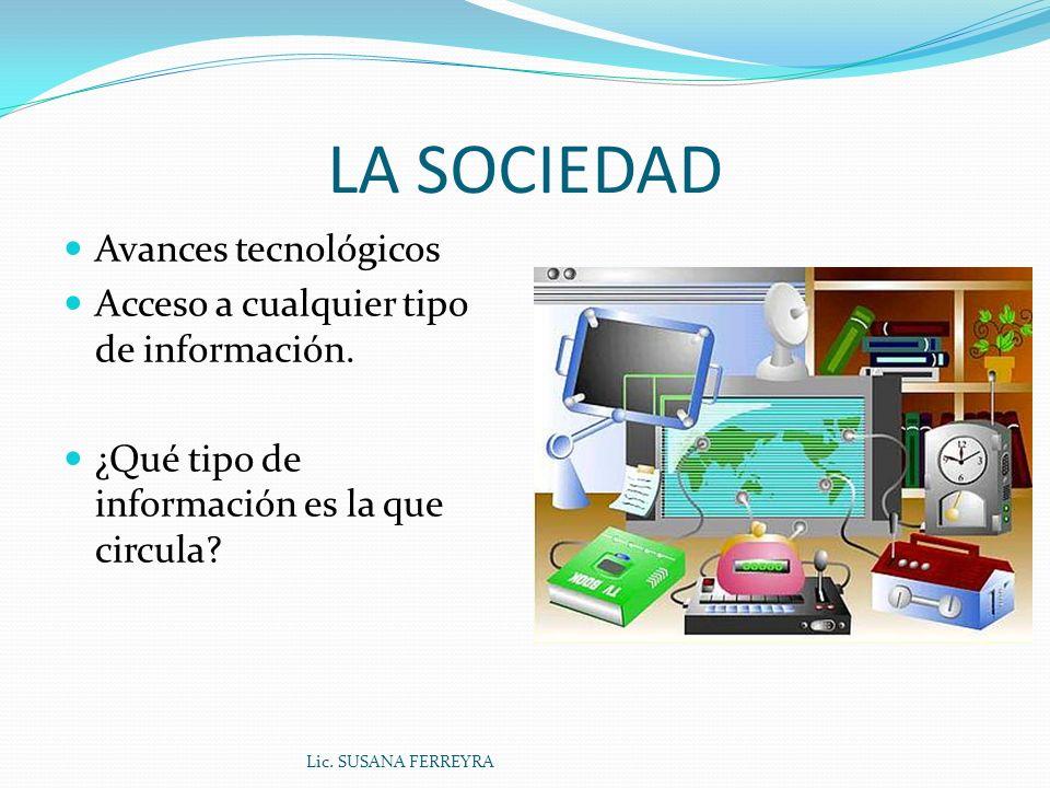 LA SOCIEDAD Avances tecnológicos Acceso a cualquier tipo de información.