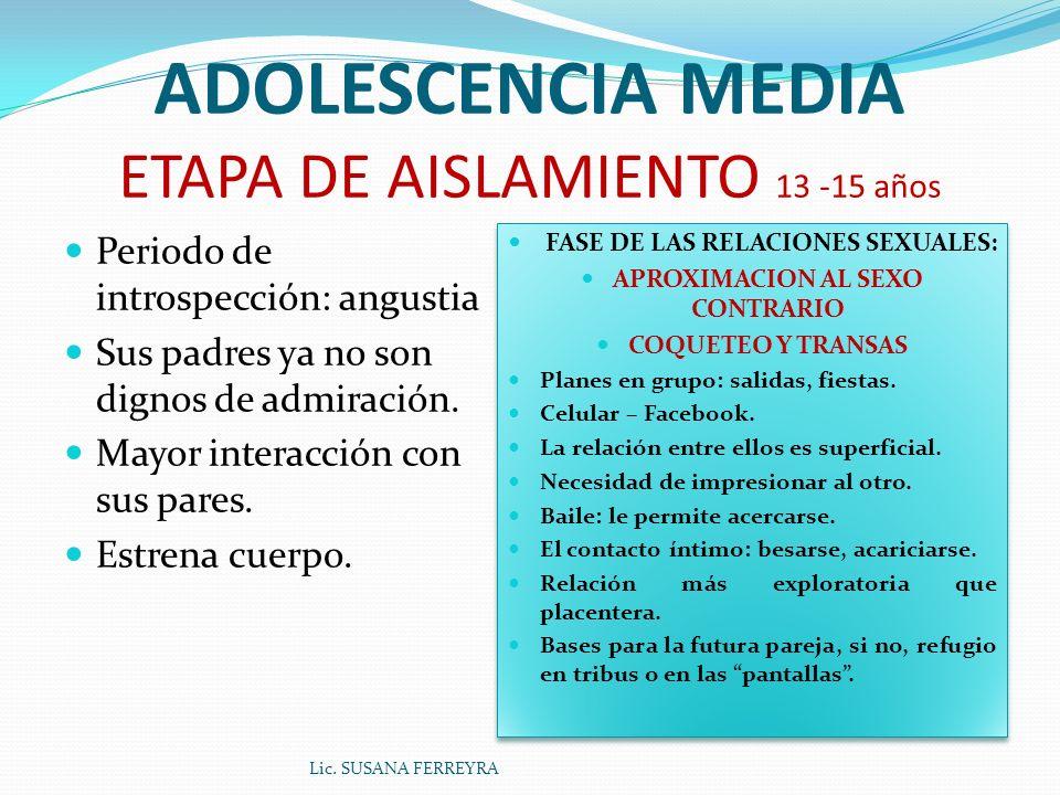 ADOLESCENCIA MEDIA ETAPA DE AISLAMIENTO 13 -15 años Periodo de introspección: angustia Sus padres ya no son dignos de admiración.