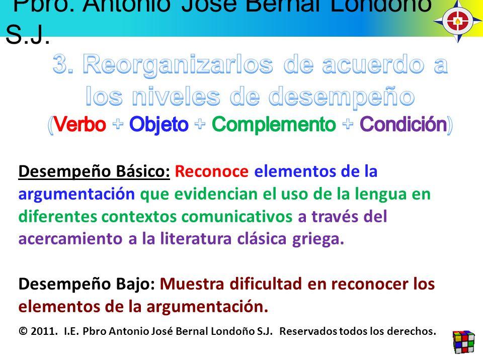 Desempeño Básico: Reconoce elementos de la argumentación que evidencian el uso de la lengua en diferentes contextos comunicativos a través del acercam