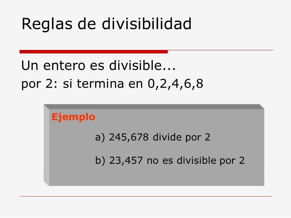 Reglas de divisibilidad Un entero es divisible... por 2: si termina en 0,2,4,6,8 Ejemplo a) 245,678 divide por 2 b) 23,457 no es divisible por 2