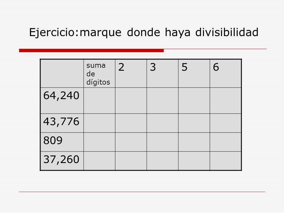 suma de dígitos 2356 64,240 43,776 809 37,260 Ejercicio:marque donde haya divisibilidad