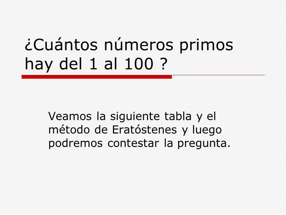 ¿Cuántos números primos hay del 1 al 100 ? Veamos la siguiente tabla y el método de Eratóstenes y luego podremos contestar la pregunta.