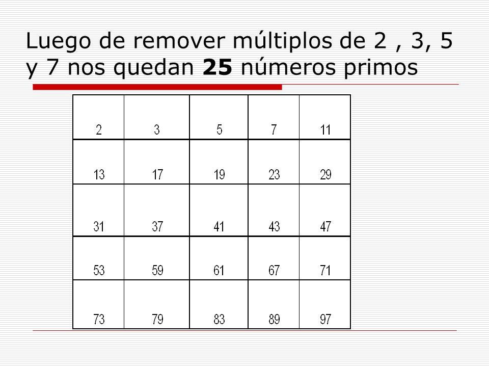Luego de remover múltiplos de 2, 3, 5 y 7 nos quedan 25 números primos