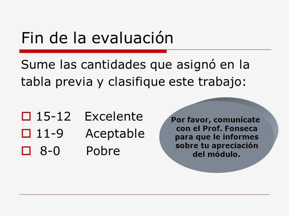Fin de la evaluación Sume las cantidades que asignó en la tabla previa y clasifique este trabajo: 15-12 Excelente 11-9 Aceptable 8-0 Pobre Por favor,