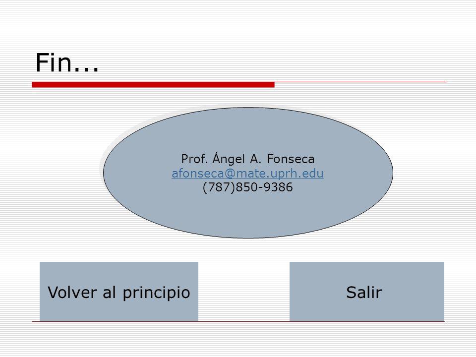 Fin... Prof. Ángel A. Fonseca afonseca@mate.uprh.edu (787)850-9386 Prof. Ángel A. Fonseca afonseca@mate.uprh.edu (787)850-9386 Volver al principioSali