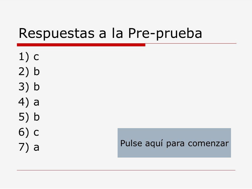 Respuestas a la Pre-prueba 1) c 2) b 3) b 4) a 5) b 6) c 7) a Pulse aquí para comenzar