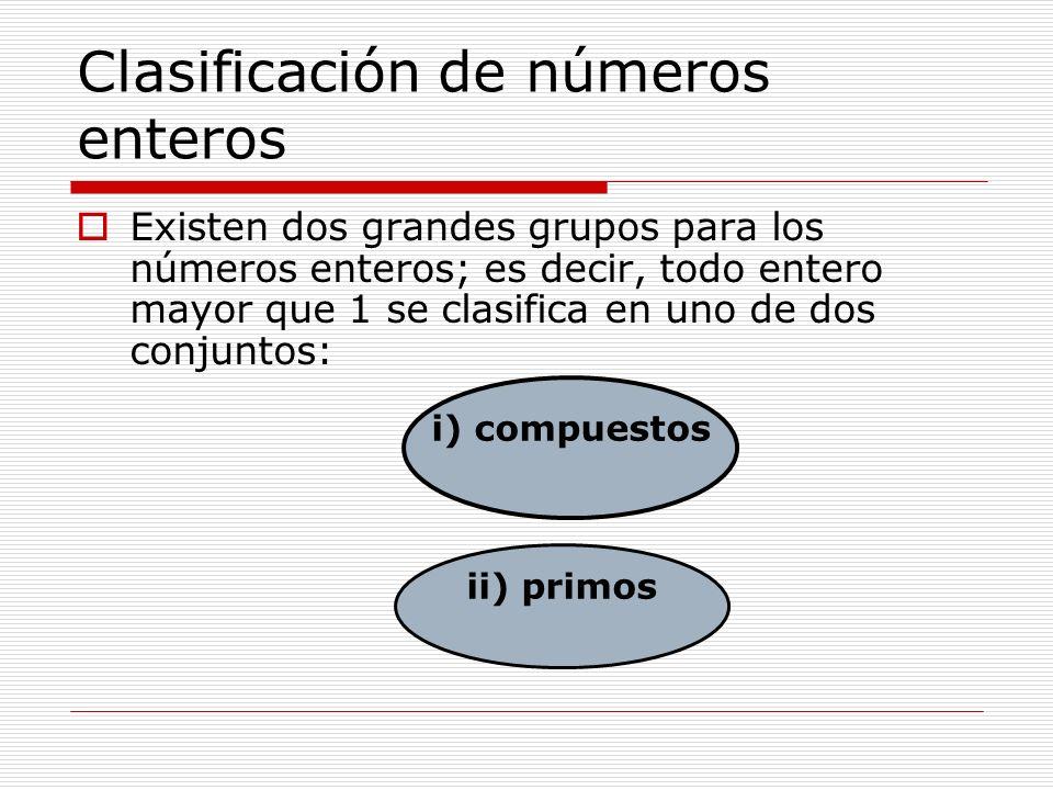 Clasificación de números enteros Existen dos grandes grupos para los números enteros; es decir, todo entero mayor que 1 se clasifica en uno de dos con