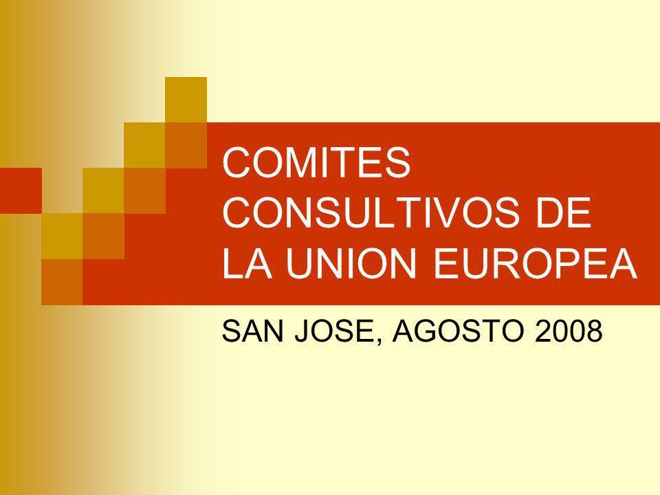 COMITES CONSULTIVOS DE LA UNION EUROPEA DENOMINACIONFINALIDADCOMPOSICIONOBSERVACIONES COMITE ECONOMICO Y SOCIAL Órgano de consulta del Parlamento Europeo, Consejo de la Unión y de la Comisión Europea.