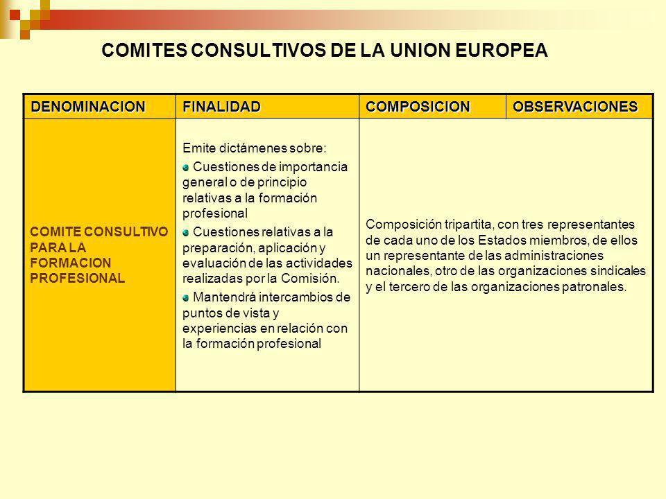 COMITES CONSULTIVOS DE LA UNION EUROPEA DENOMINACIONFINALIDADCOMPOSICIONOBSERVACIONES COMITE CONSULTIVO PARA LA SEGURIDAD Y LA SALUD EN EL TRABAJO Asiste a la Comisión en la preparación y evaluación de toda iniciativa relativa a la seguridad y la salud en el trabajo Composición tripartita, con tres representantes de cada uno de los Estados miembros, de ellos un representante de las administraciones nacionales, otro de las organizaciones sindicales y el tercero de las organizaciones patronales Define programas de acción comunitaria en esta materia.