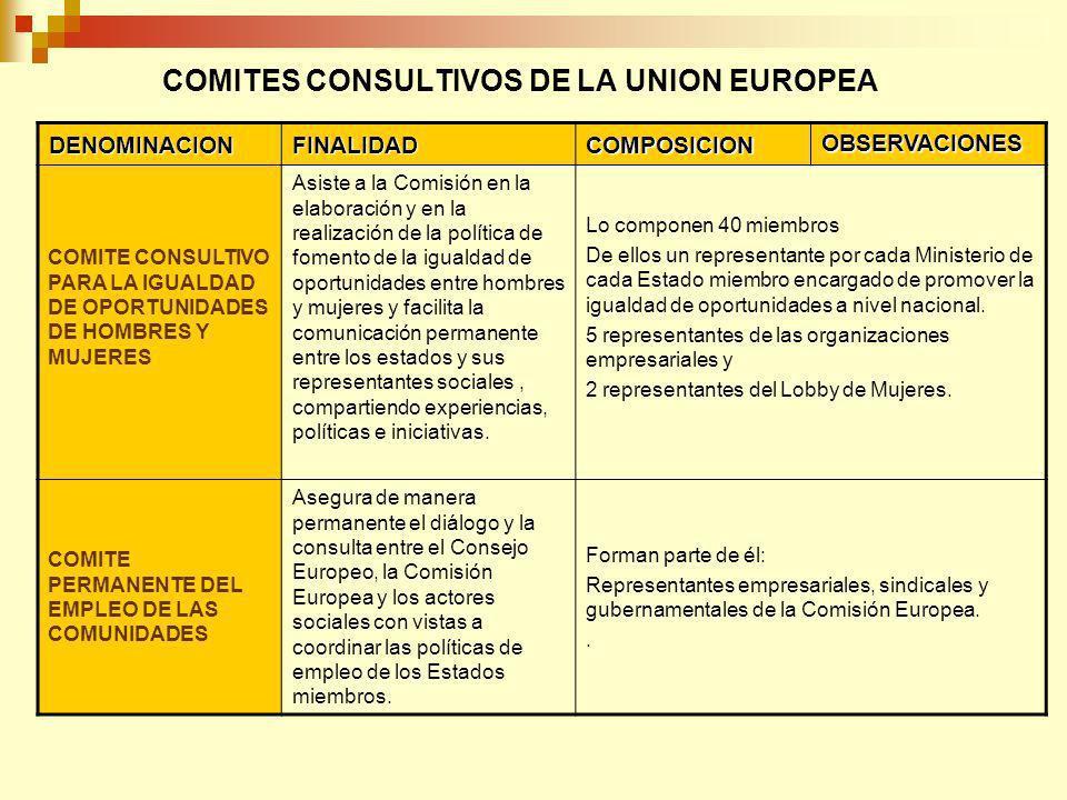 COMITES CONSULTIVOS DE LA UNION EUROPEA DENOMINACIONFINALIDADCOMPOSICION OBSERVACIONES COMITE CONSULTIVO PARA LA IGUALDAD DE OPORTUNIDADES DE HOMBRES