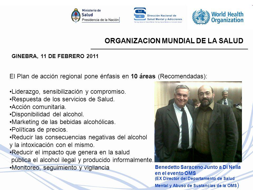 ORGANIZACION MUNDIAL DE LA SALUD GINEBRA, 11 DE FEBRERO 2011 El Plan de acción regional pone énfasis en 10 áreas (Recomendadas): Liderazgo, sensibilización y compromiso.